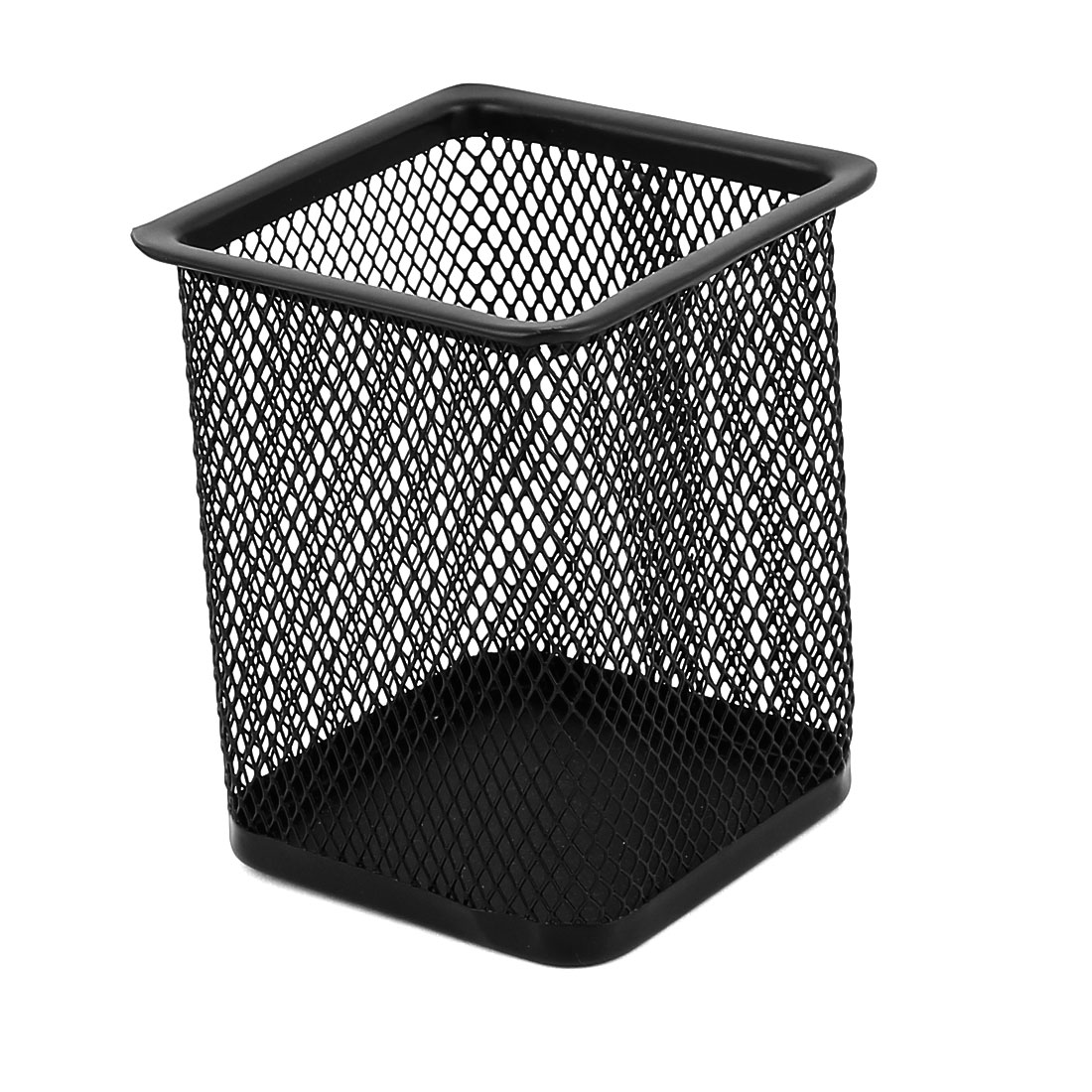 Office School Metal Rectangle Mesh Style Pen Pencil Holder Container Organizer Black