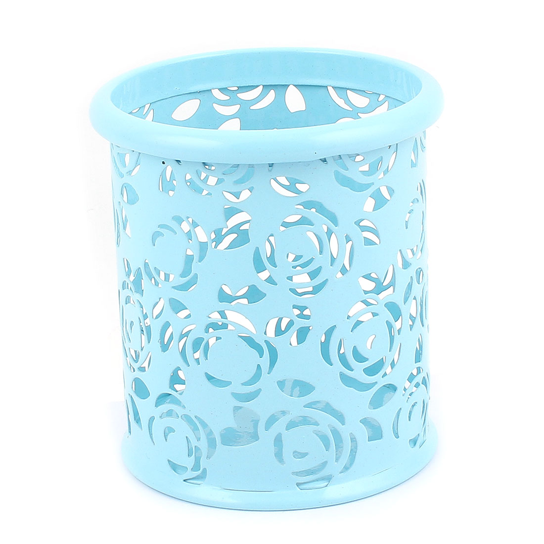 Office School Metal Cylinder Flower Carved Mesh Pen Pencil Holder Container Organizer Blue