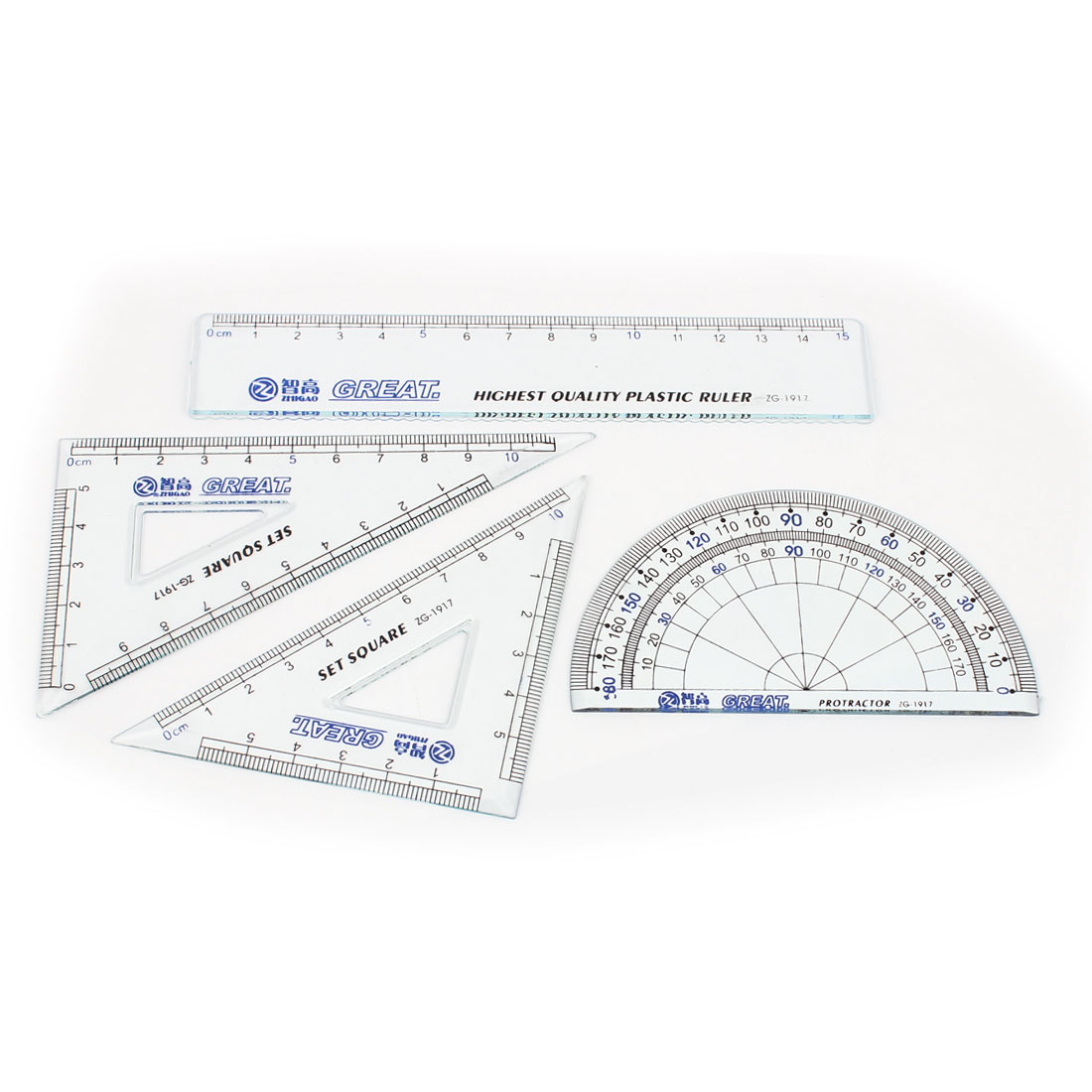 4 in 1 Clear Blue Plastic Protractor Geometry Straight Triangle Ruler Combination Set