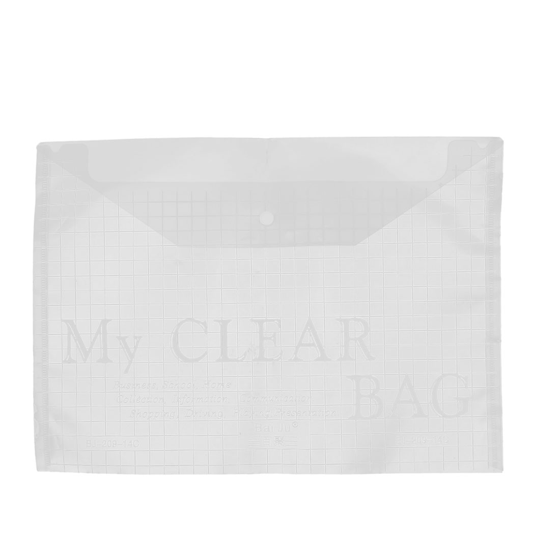 White Clear Plastic Press Stud Button Closure A4 Paper File Document Holder Organizer Storage
