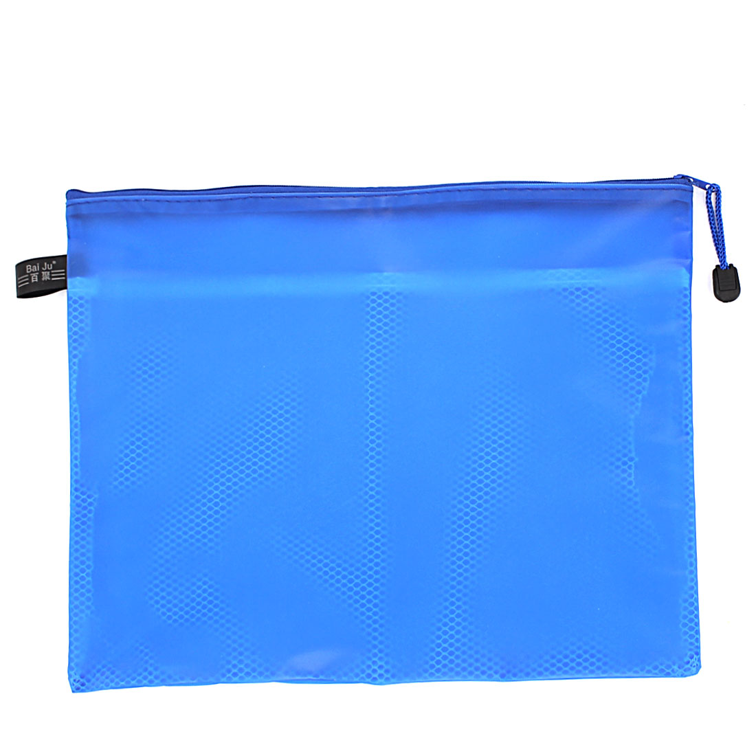 Blue Zipper Closure Double Layers Paper Document File Pen Bag Folder Holder Organizer Storage w Strap
