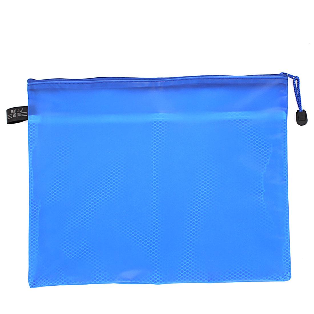 Blue Zipper Closure Double Layers Paper Document File Pen Bag Folder Holder Organizer Storage w Strap