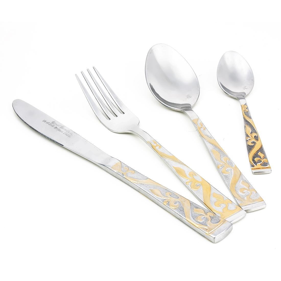 Casa-J Home Family Flatware Cutlery Set, 18/10 Stainless Steel, 4 Pieces Service for 1