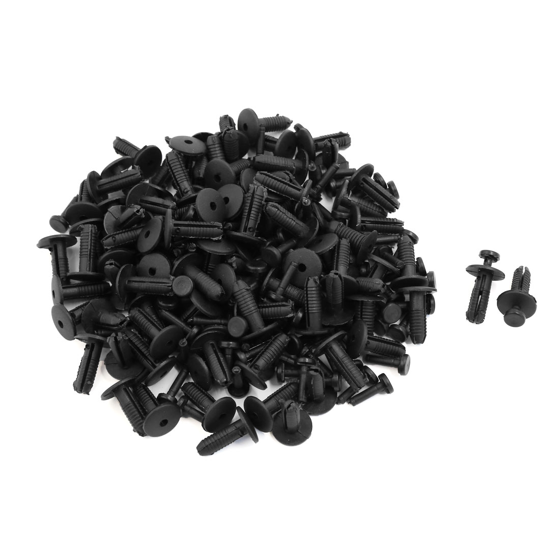 100 Pcs Black Plastic Rivet Trim Fastener Moulding Clips Fit for 8mm Dia Hole
