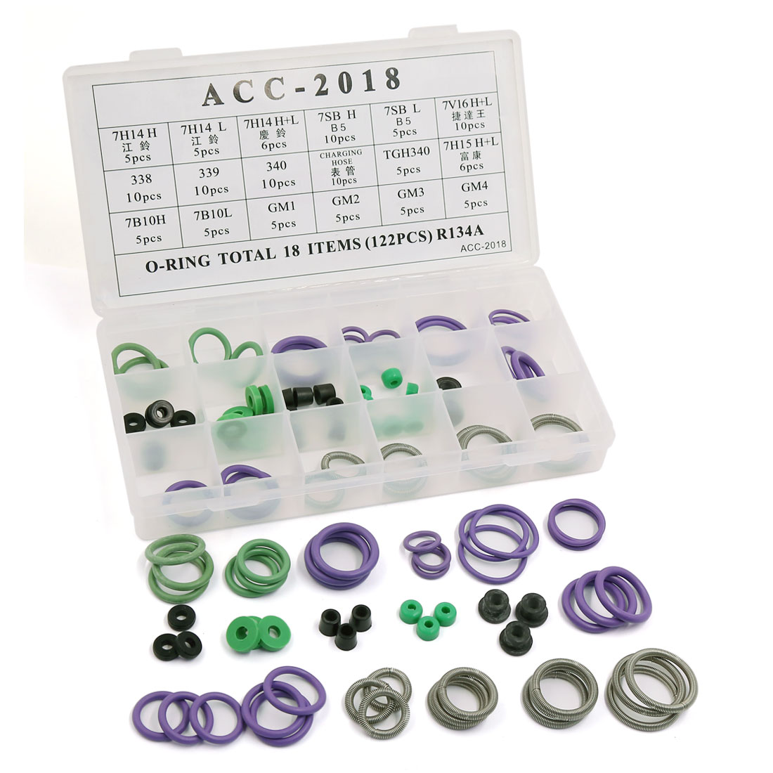 122pcs 18 Sizes HNBR Air Conditioning A/C O Rings Seals Assortment Kit w Case