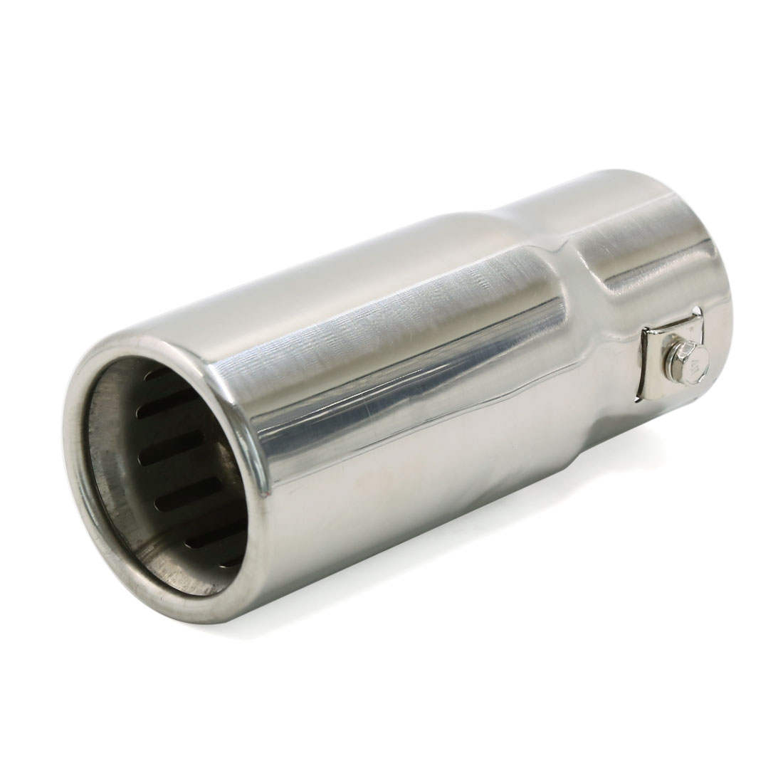 Universal Sliver Tone Straight Round Tip Car Exhaust Muffler Pipe 14.6cm Long