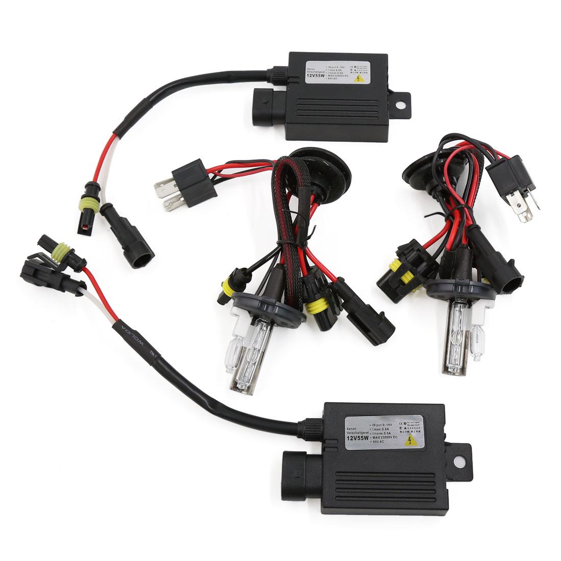 6000K H4 Hi/Lo Dual Beam HID Xenon Bulb Headlight Slim Conversion Kit DC 12V 55W