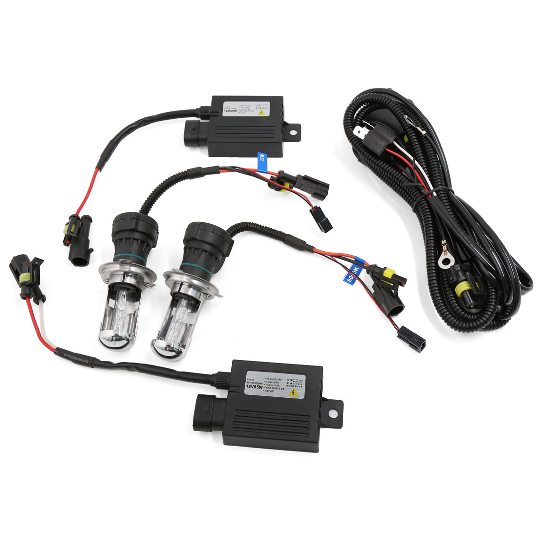 4300K H4 Hi/Lo Beam Bi-Xenon HID Lamp Bulb Conversion Controller Harness Kit 55W