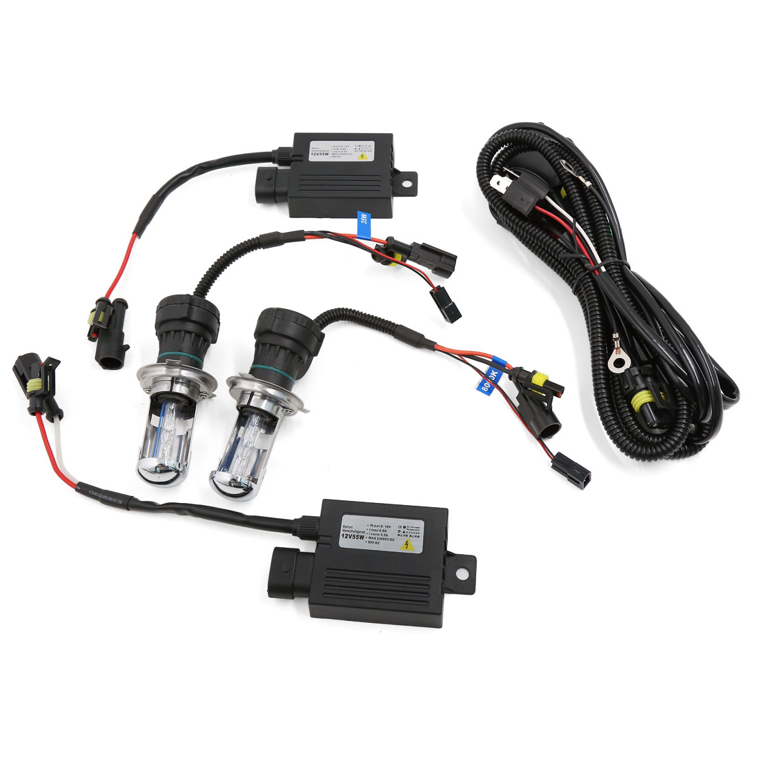 Auto 8000K H4 Hi/Lo Dual Beam Bi-Xenon HID Lamp Bulb Slim Conversion Kit 12V 55W