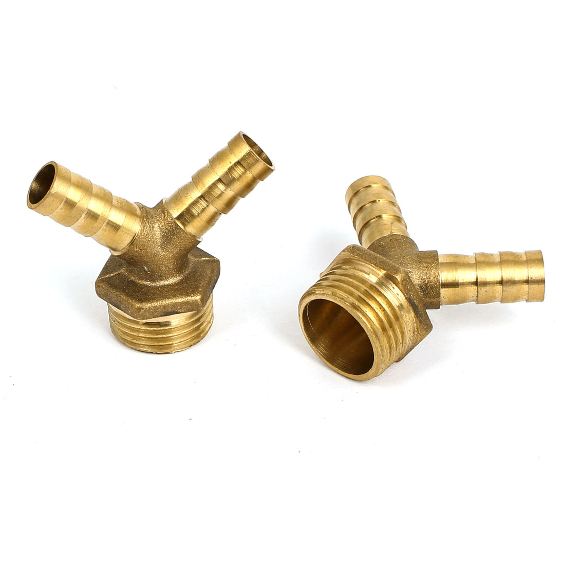 5/8BSP Thread Y Shaped Brass Hose Barb Pipe Fittting Connector 2pcs