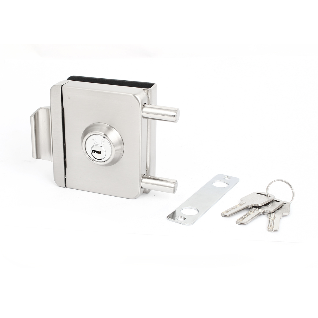 Home Office Cabint Room Glass Sliding Door Lock Silver Tone w Keys