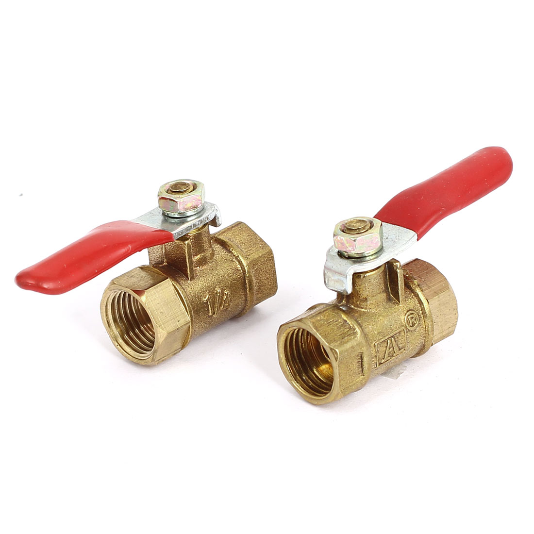 1/4BSP Female Thread F/F Red Lever Handle Full Port Brass Ball Valve 2pcs