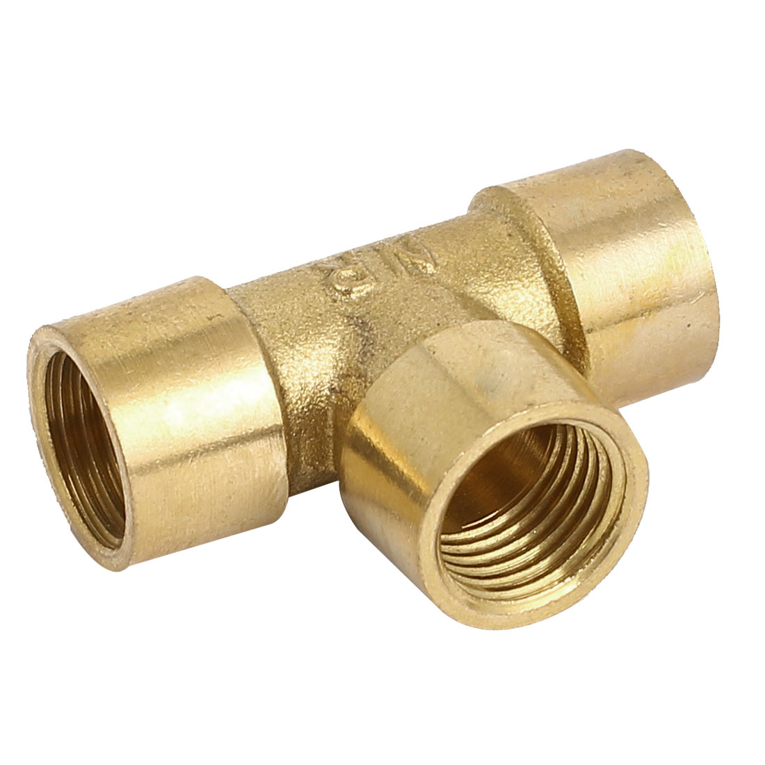 1/4BSP Female Threaded 3 Ways Cross Coupler Adapter Pipe Fitting Brass Tone