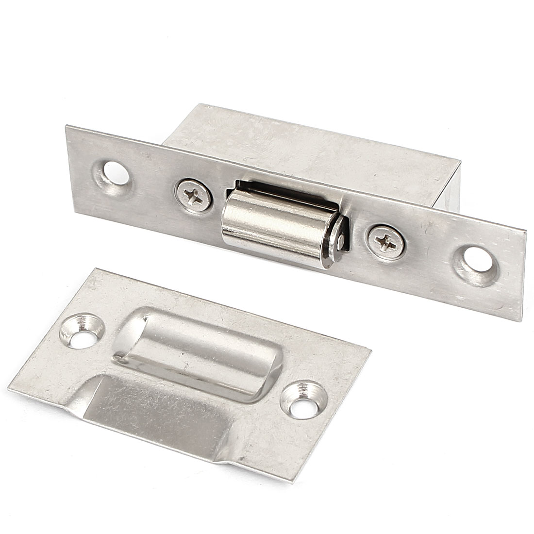 Cupboard Stainless Steel Door Latch Double Ball Catch Silver Tone 90mm Long