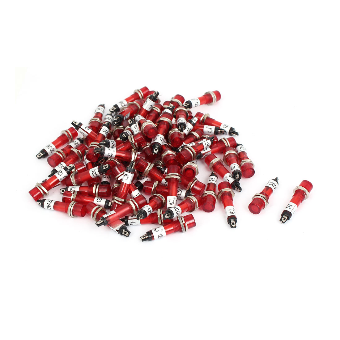 DC 12V 2 Terminals Threaded Light Signal Indicator Lamp Red 100 Pcs