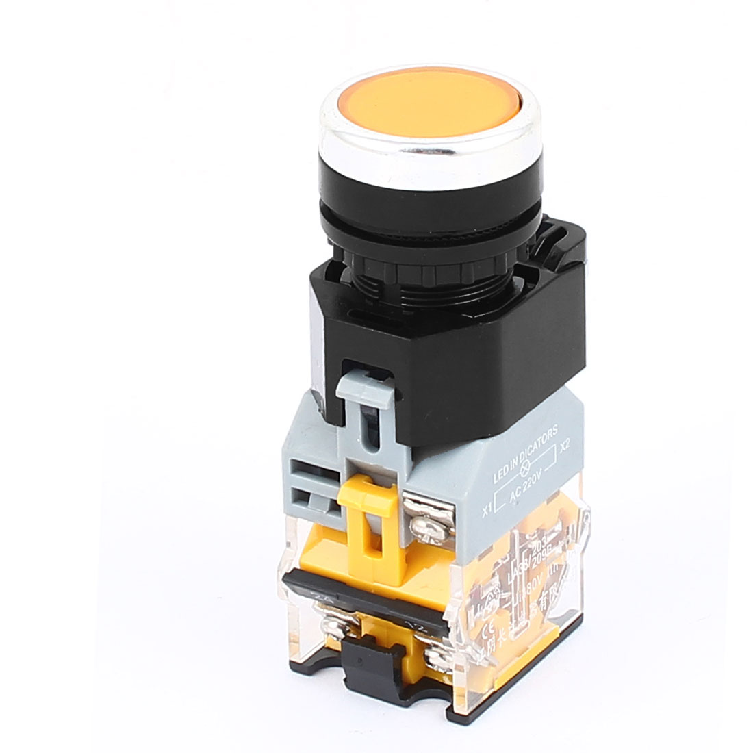 AC 380V 10A NO NC 6 Terminal Momentary Yellow Light Push Button Switch