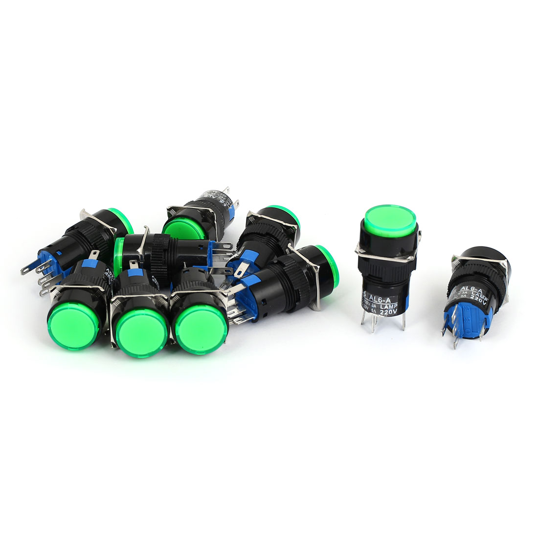 10pcs AL6-A DC24V Green Signal Mushroom Cap Locking Push Button Switch