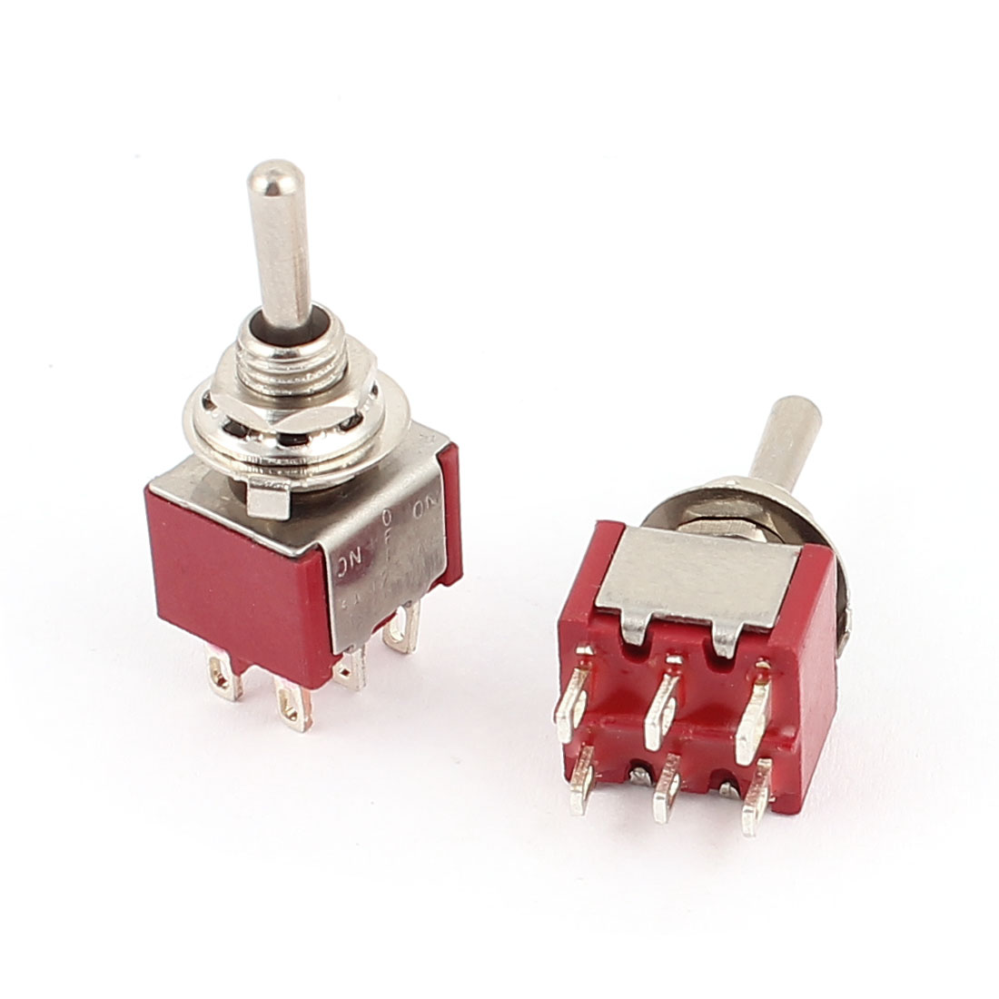 2 Pcs 250VAC 2A 125VAC 5A 6 Terminals DPDT 3 Position ON/OFF/ON Momentary Toggle Switch