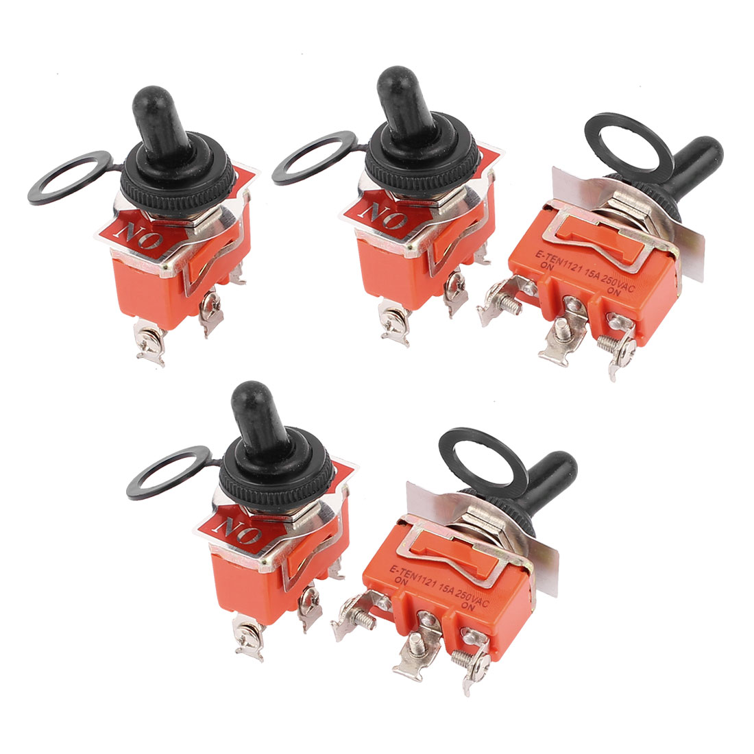 5 Pcs AC250V 15A SPDT ON-ON 2 Positions 3 Terminals Latching Toggle Switch w Cap