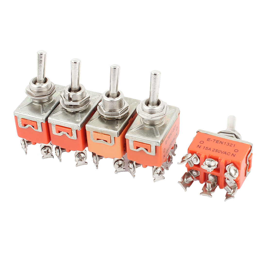 5 Pcs AC250V 15A DPDT ON-ON 2 Positions 6 Terminals Latching Toggle Switch