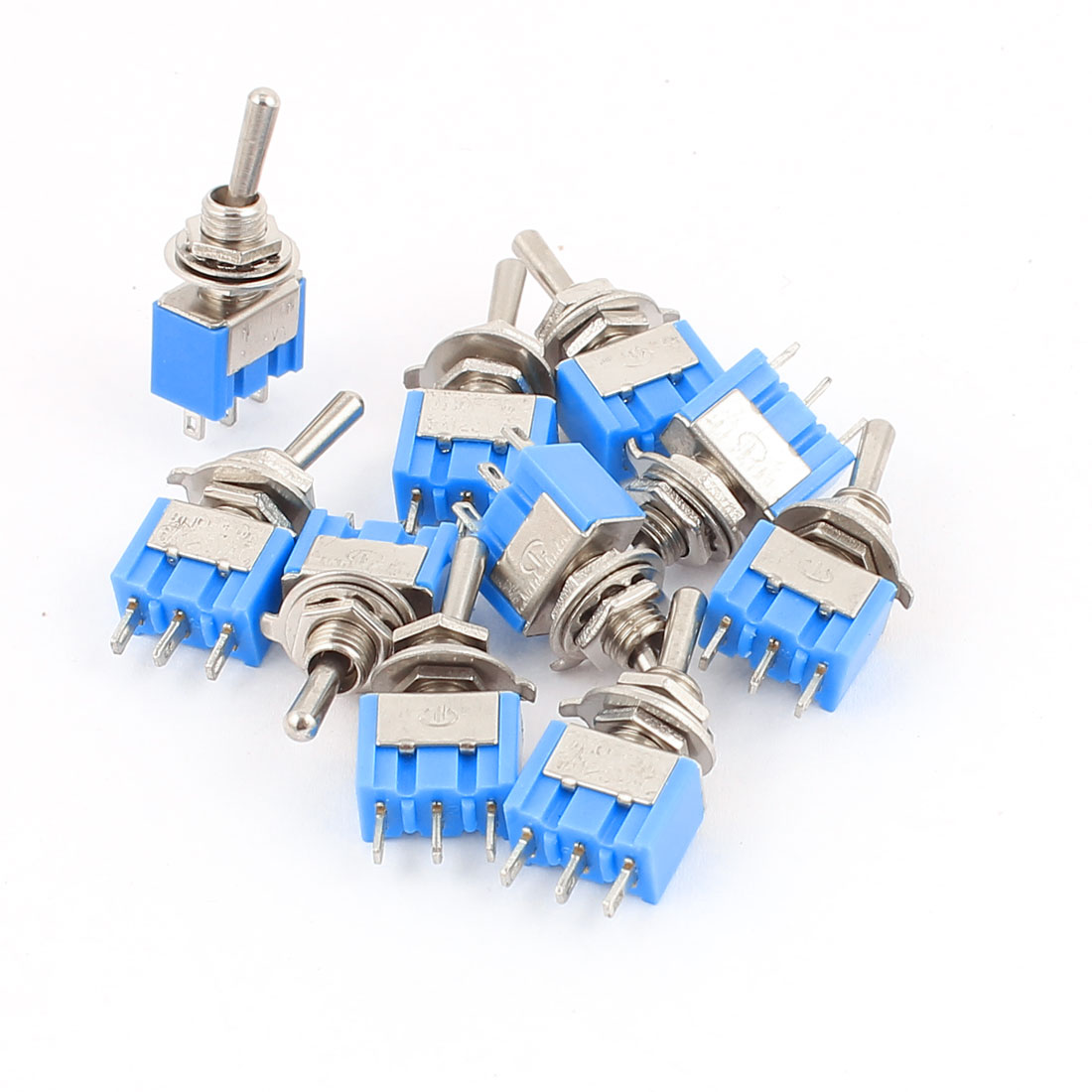 10 Pcs AC125V 6A SPDT ON-OFF-ON 3 Positions 3 Terminals Latching Mini Toggle Switch