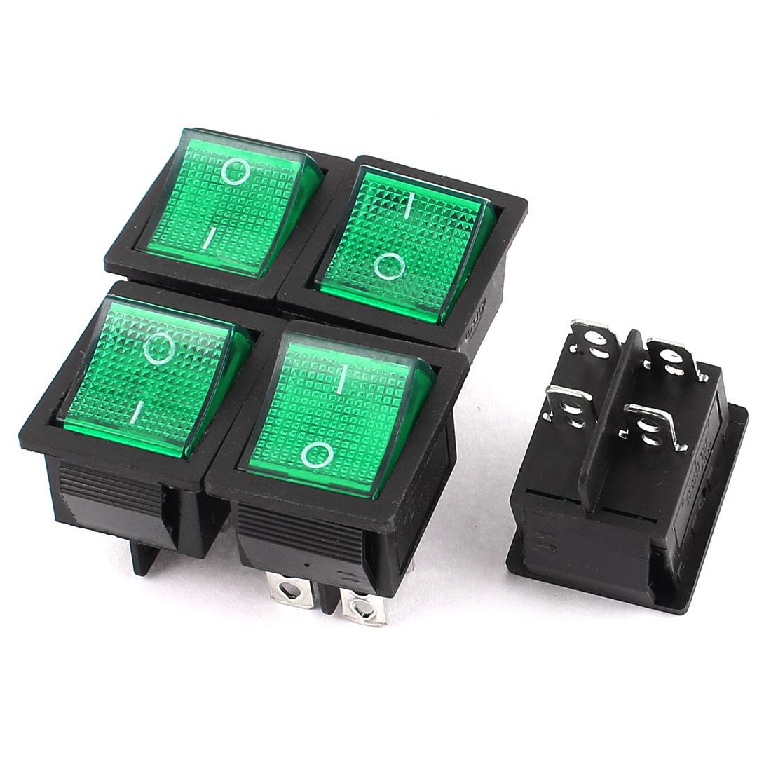 5 Pcs Green Light DPST I/O 2 Position Boat Rocker Switch 15A 250VAC 20A 125V