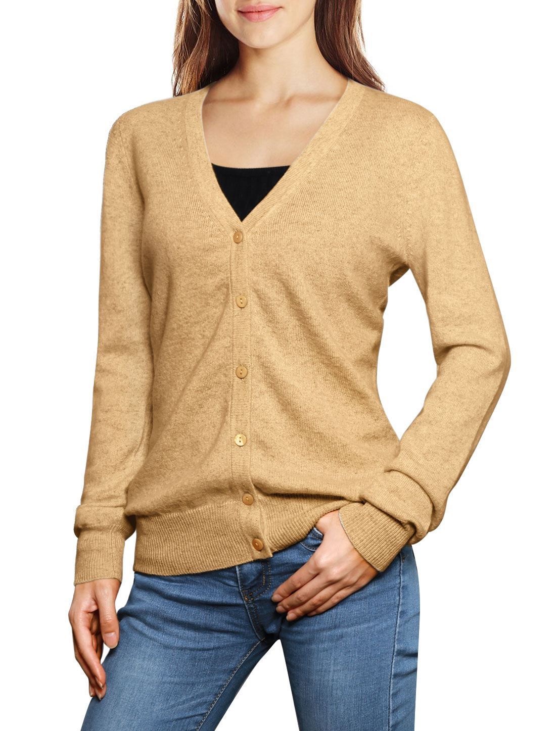 Women Classic V-Neck Cashmere Cardigan Brown M