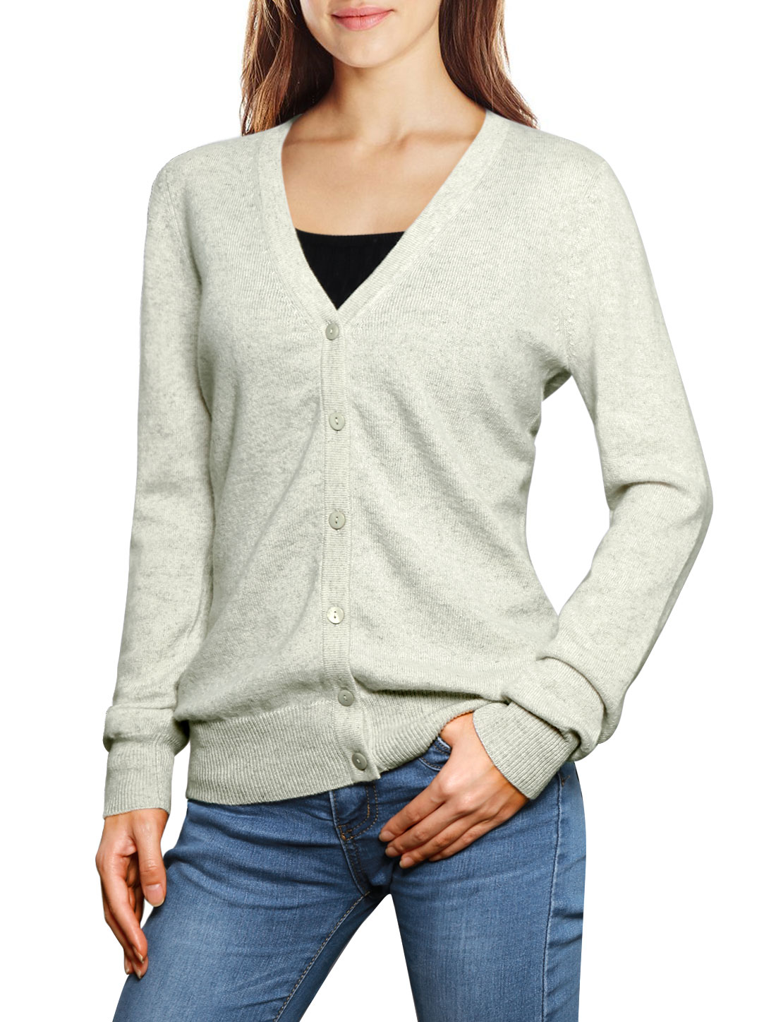 Ladies Classic Buttoned V-Neck Cashmere Cardigan Gray v