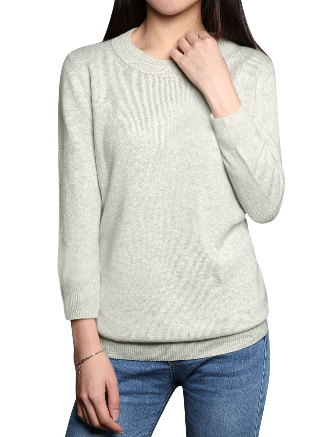 Women Crew Neck 3/4 Sleeves Cashmere Jumper Gray L
