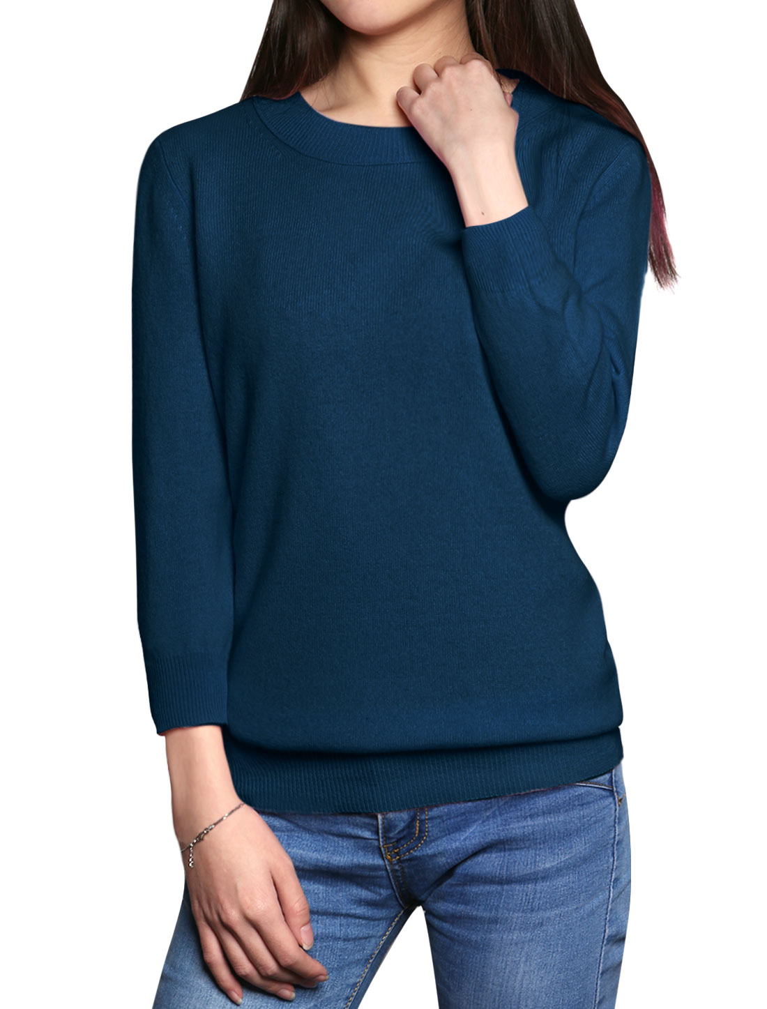Women Crew Neck Pullover Cashmere Sweater Blue XL