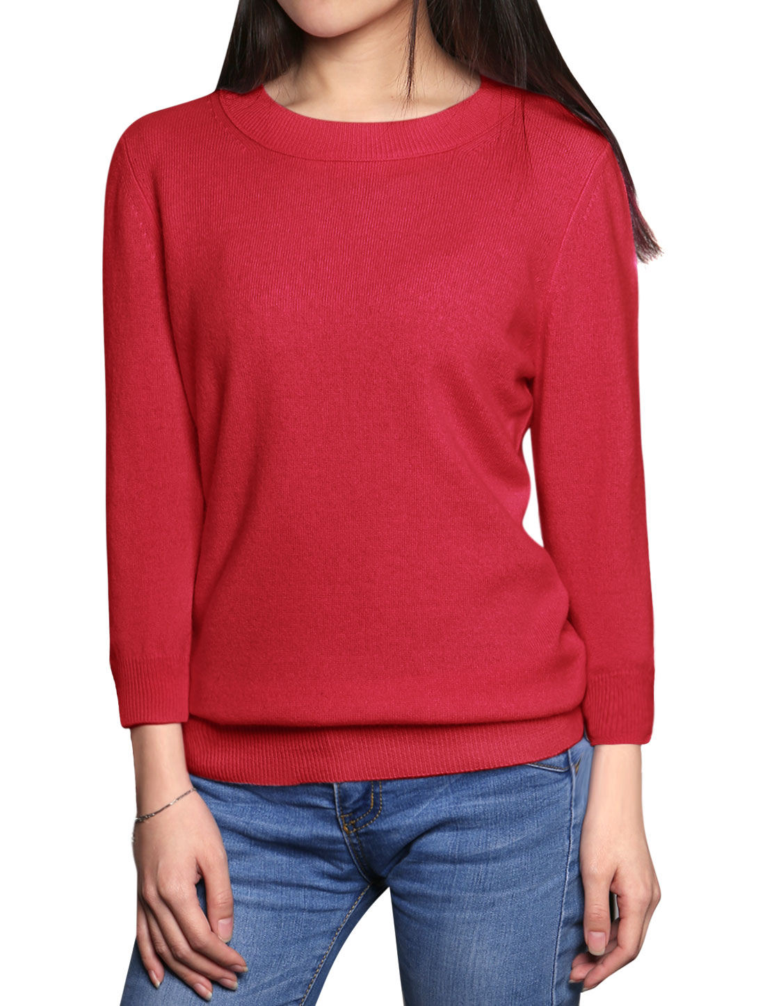 Women Ribbed Trim 3/4 Sleeves Cashmere Sweater Red L