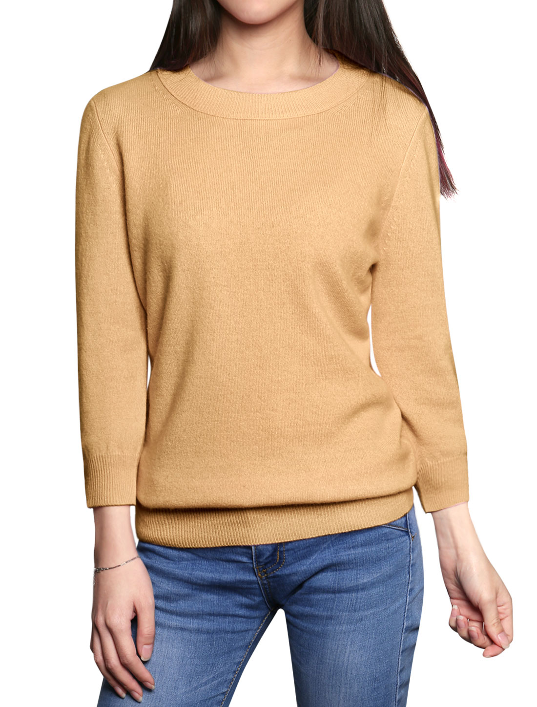 Women 3/4 Sleeves Basic Cashmere Sweater Brown M