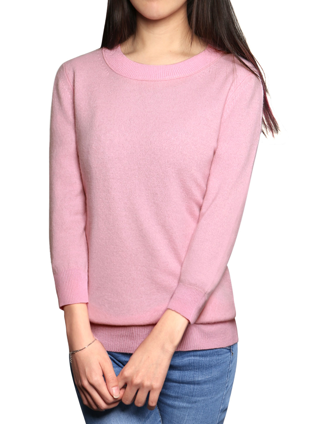 Women 3/4 Sleeves Crew Neck Ribbed Trim Sweater Pink M