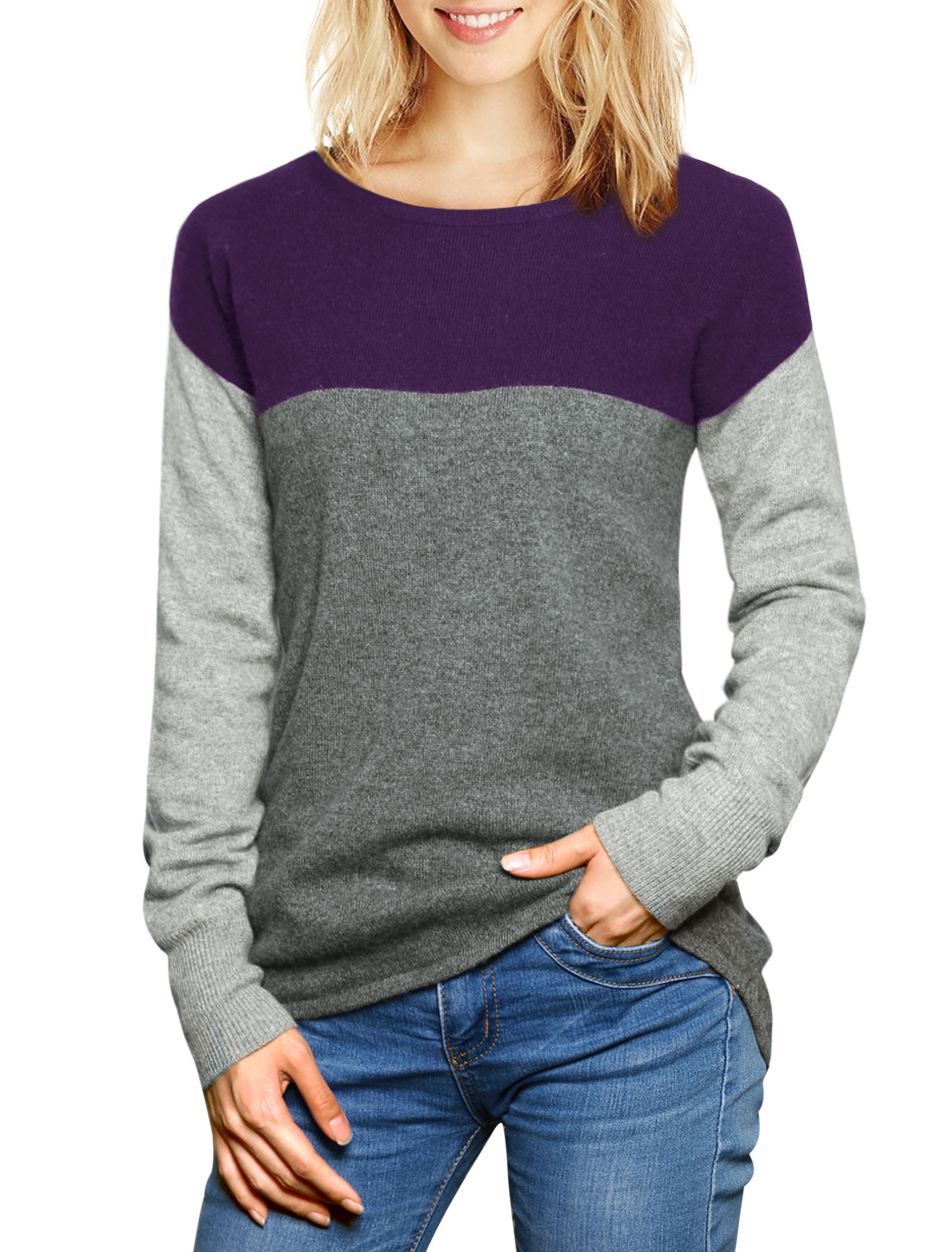 Women Color Block Cashmere Sweater Purple XL