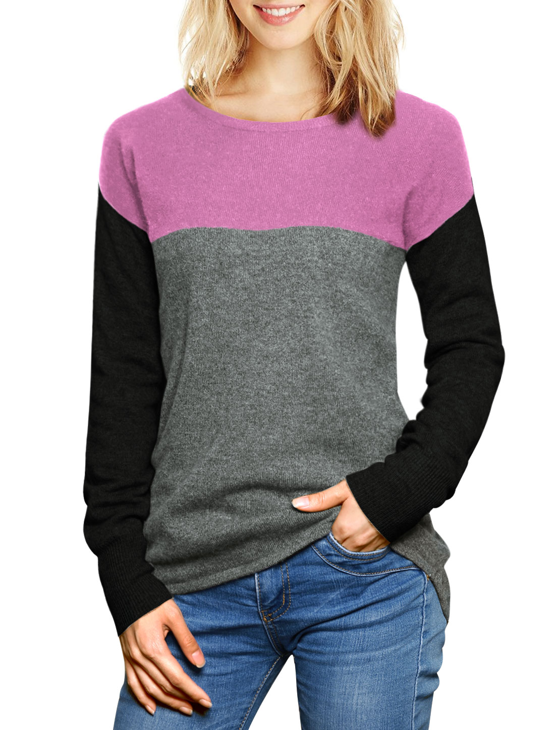 Women Color Block Cashmere Sweater Pink L