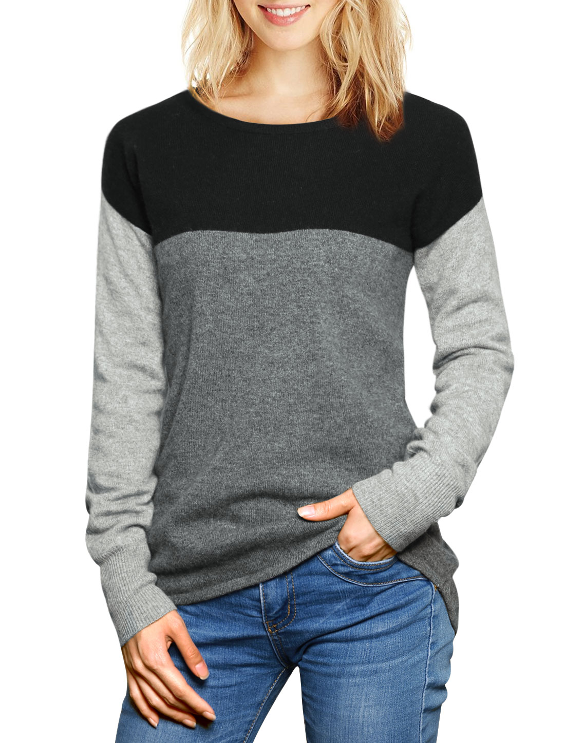 Women Color Block Cashmere Sweater Black L