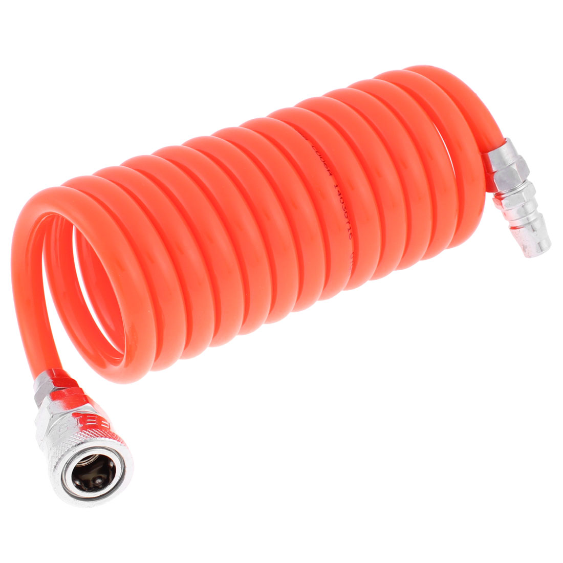 3 Meters Long 10mm x 6.5mm Polyurethane Coiled Air Hose Pipe Orange