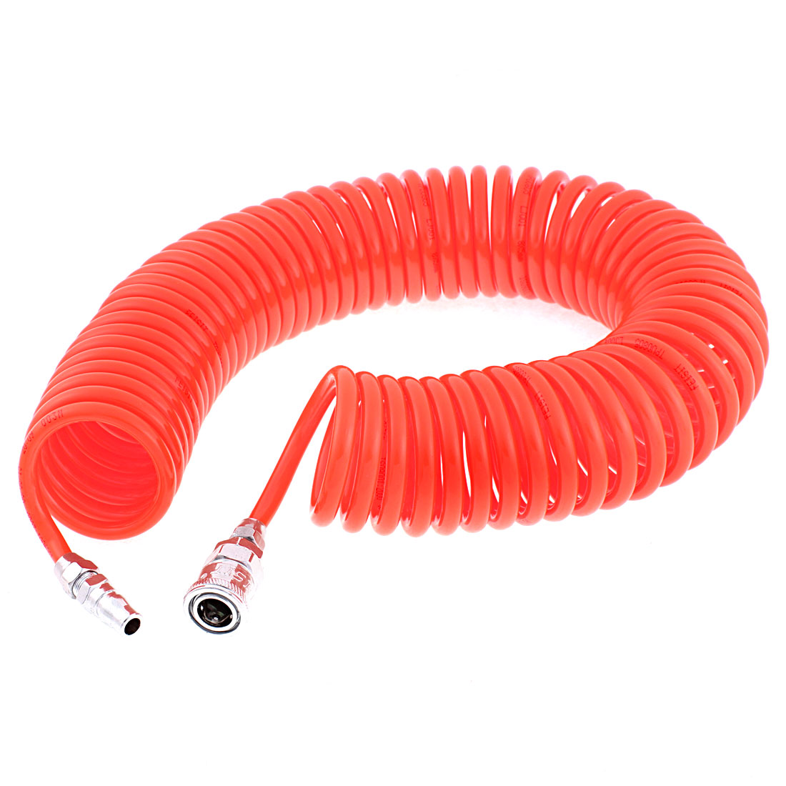 12 Meters Long 8mm x 5mm Polyurethane Coiled Air Hose Pipe Orange