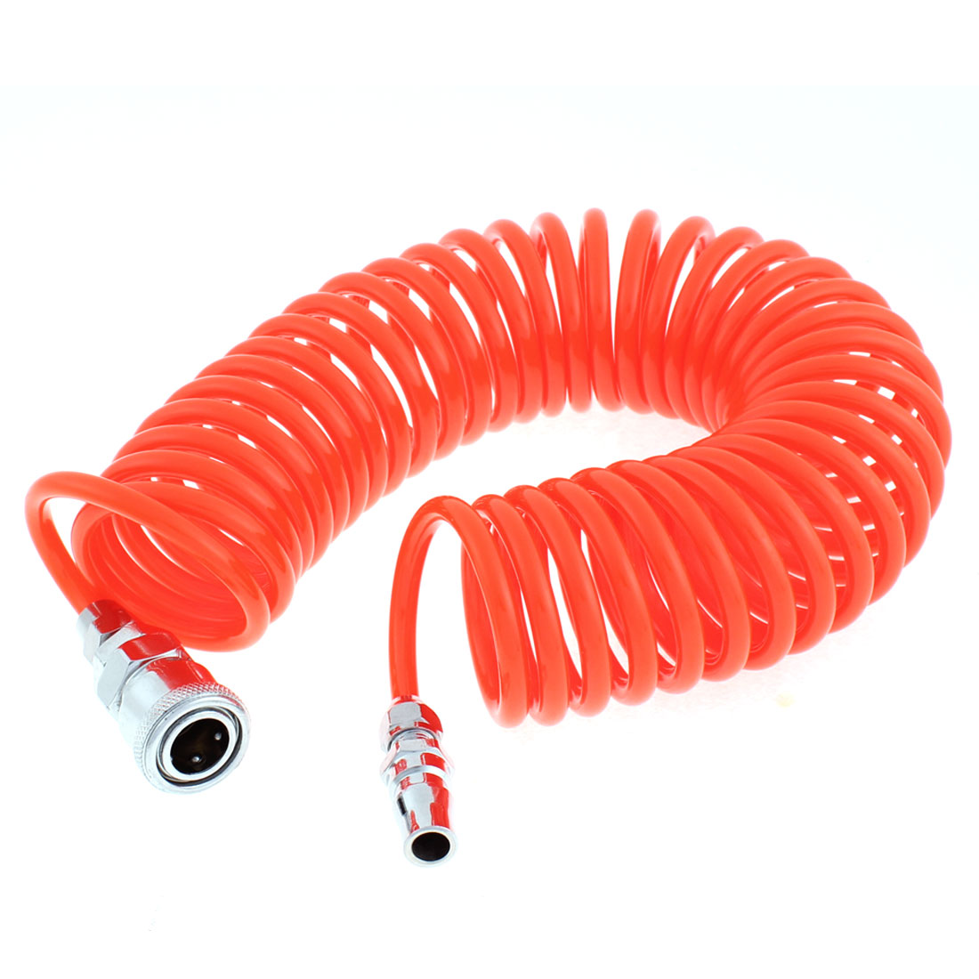 6 Meters Length 6mm x 4mm Polyurethane Coiled Air Hose Pipe Orange