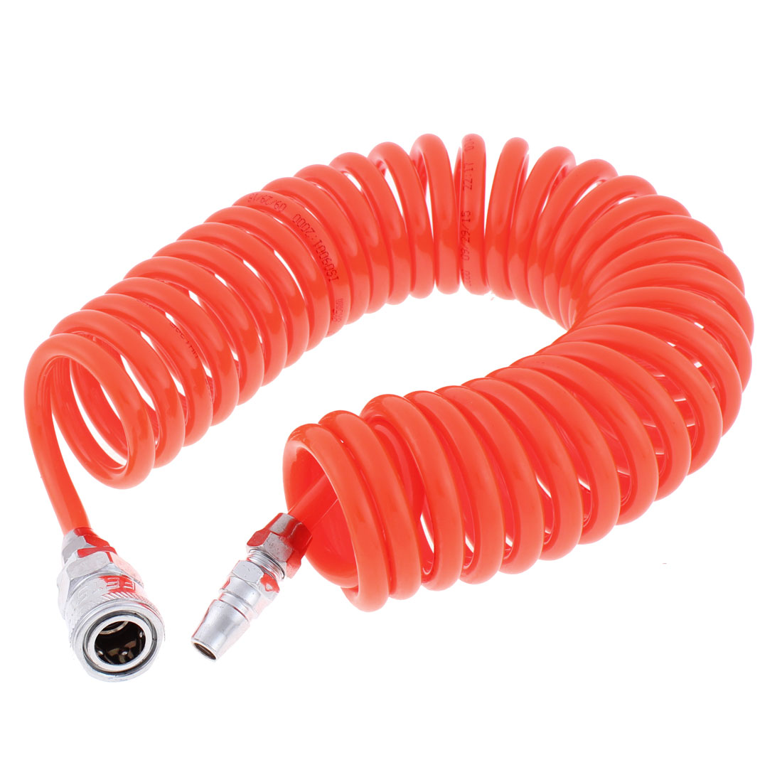 6 Meters Length 8mm x 5mm Polyurethane Coiled Air Hose Pipe Orange