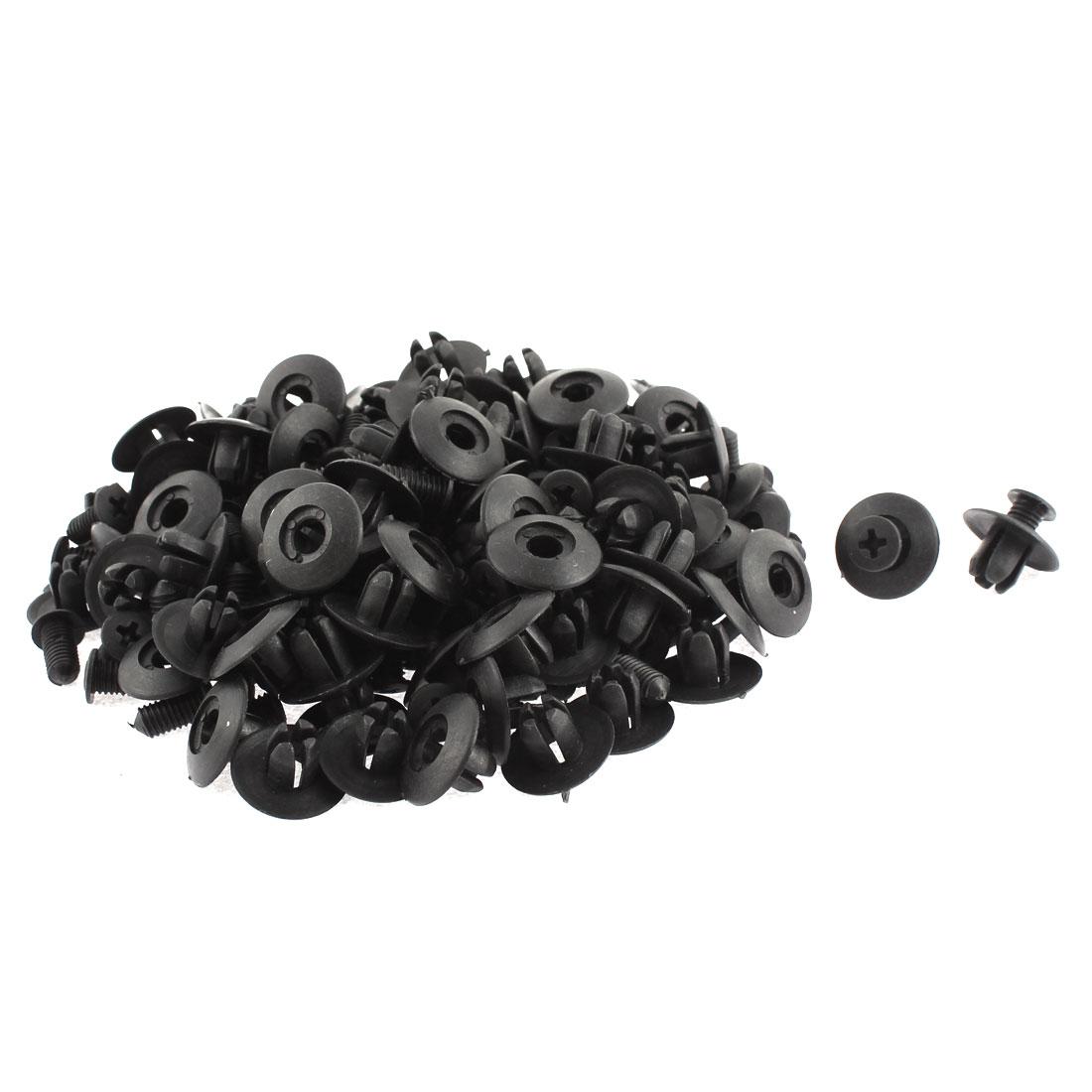 8mm Dia Black Plastic Rivet Fastener Fender Car Bumper Push Clip 100pcs