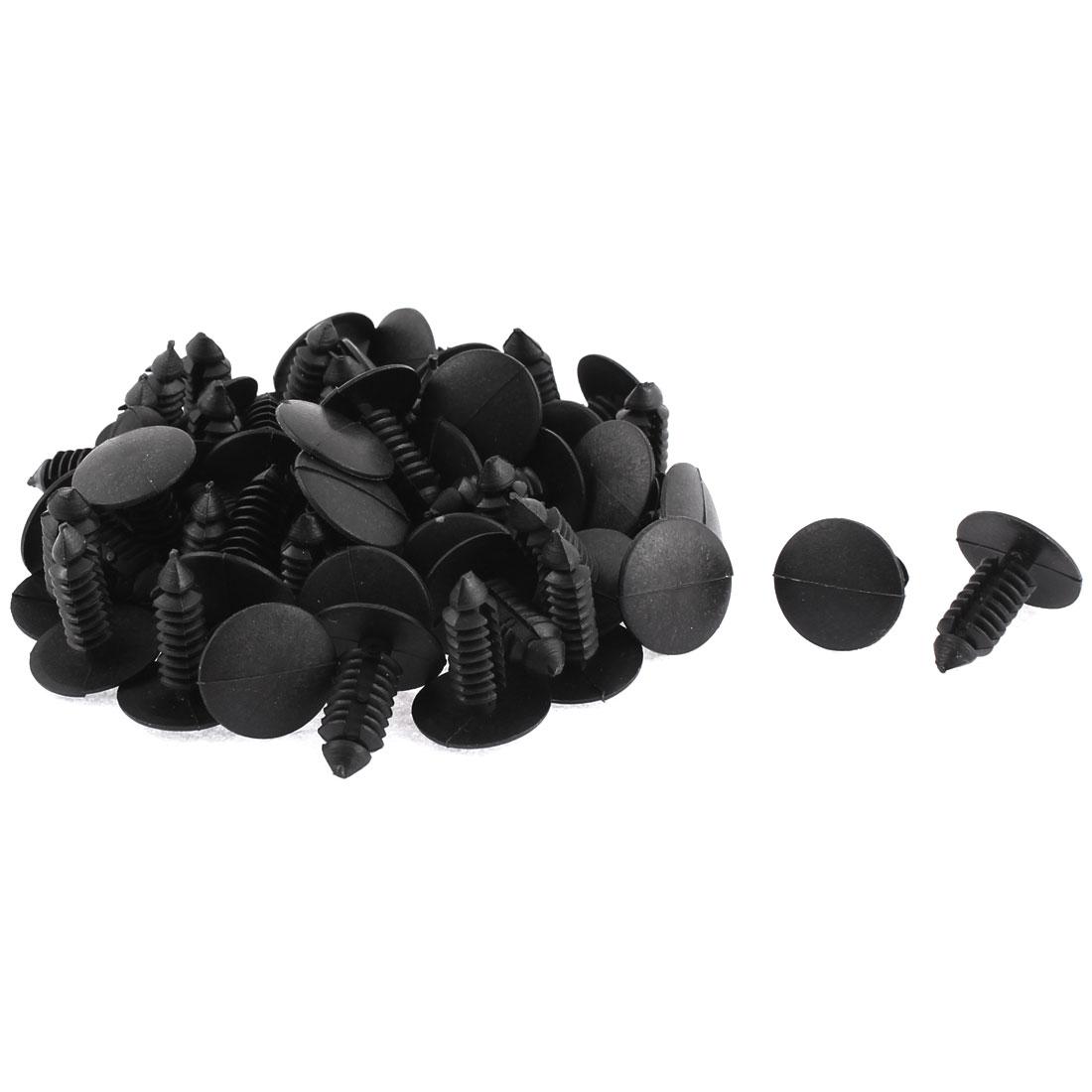 8mm x 6mm Black Plastic Rivet Fastener Fender Car Bumper Push Clip 50pcs