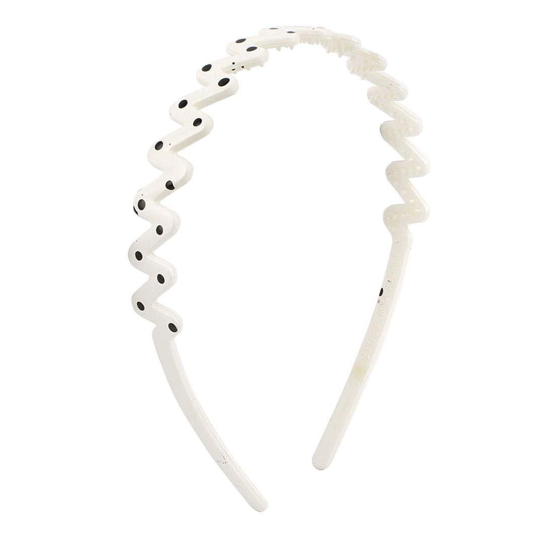 Girls Wavy Style Dots Pattern Toothed Hair Head Hoop Band Hairband White