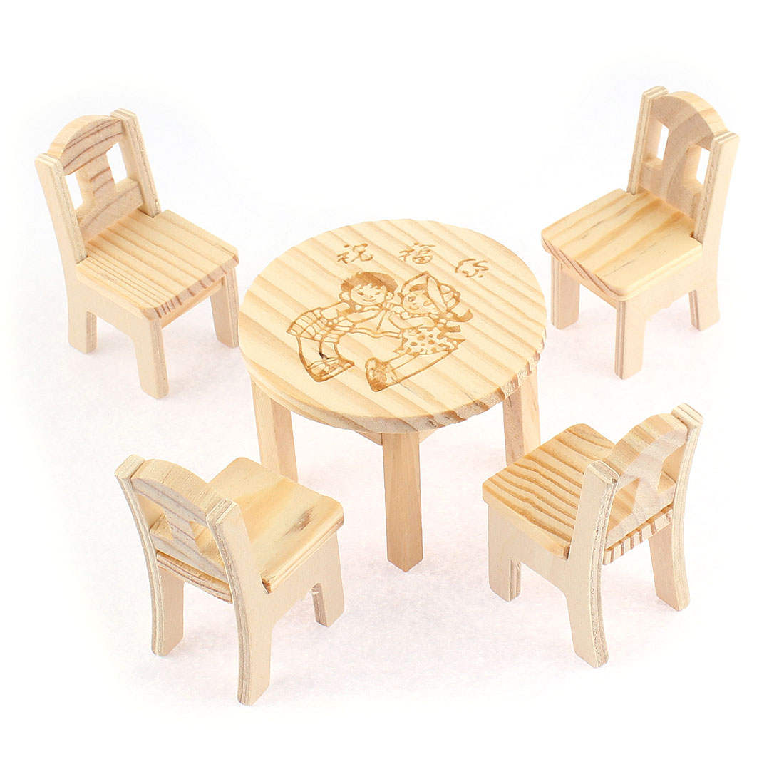 Home Office Beige Wooden Desktop Decoration Display Simulative Mini Boy Girl Pattern Craft Table Chairs Set