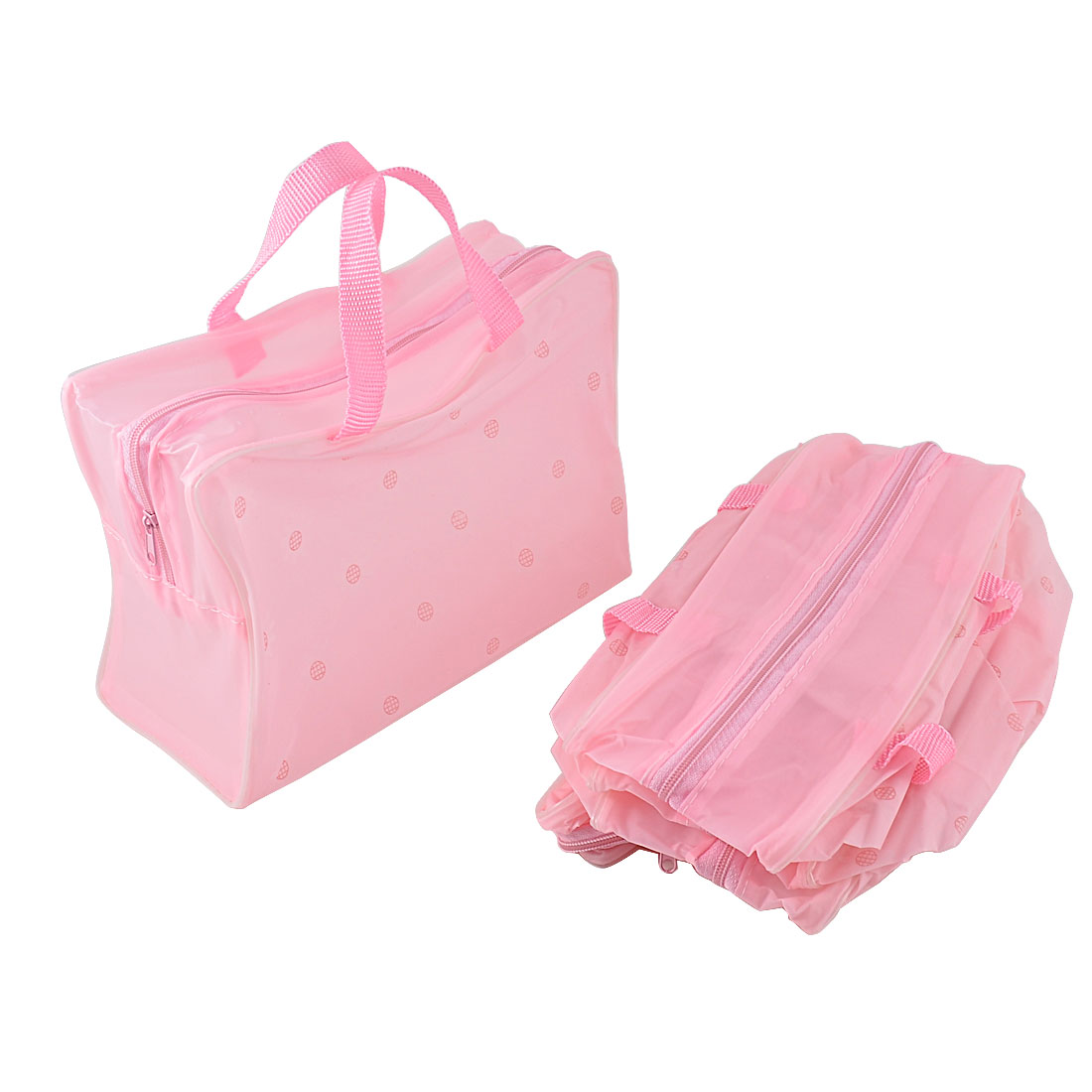 Travel Portable Soft Plastic Frame Flowers Print Bathing Shower Makeup Cosmetic Bags Toiletry Pouch Case 5pcs Pink