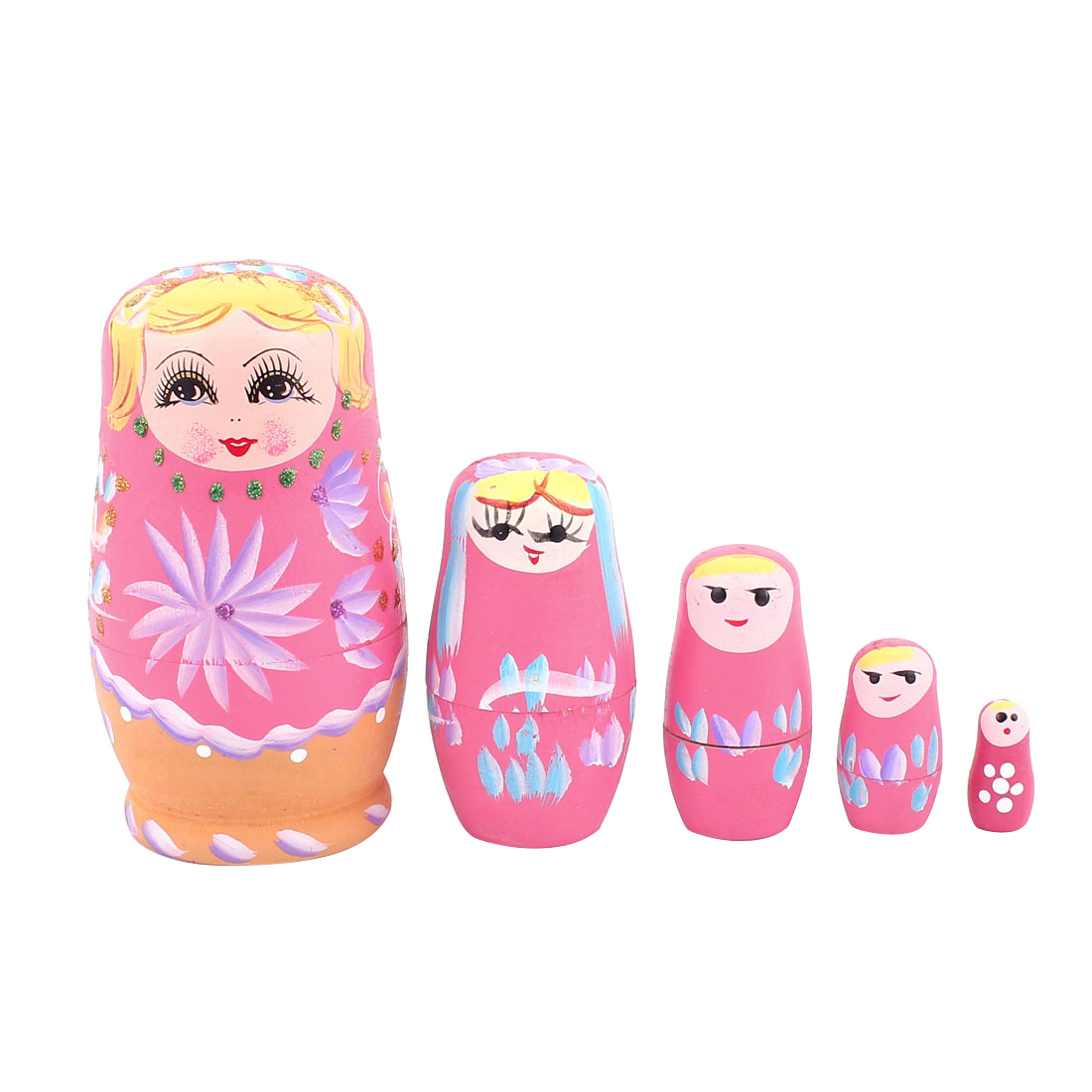 Russian Babushka Flowers Painted Nesting Matryoshka Stacking Dolls Pink 5 in 1