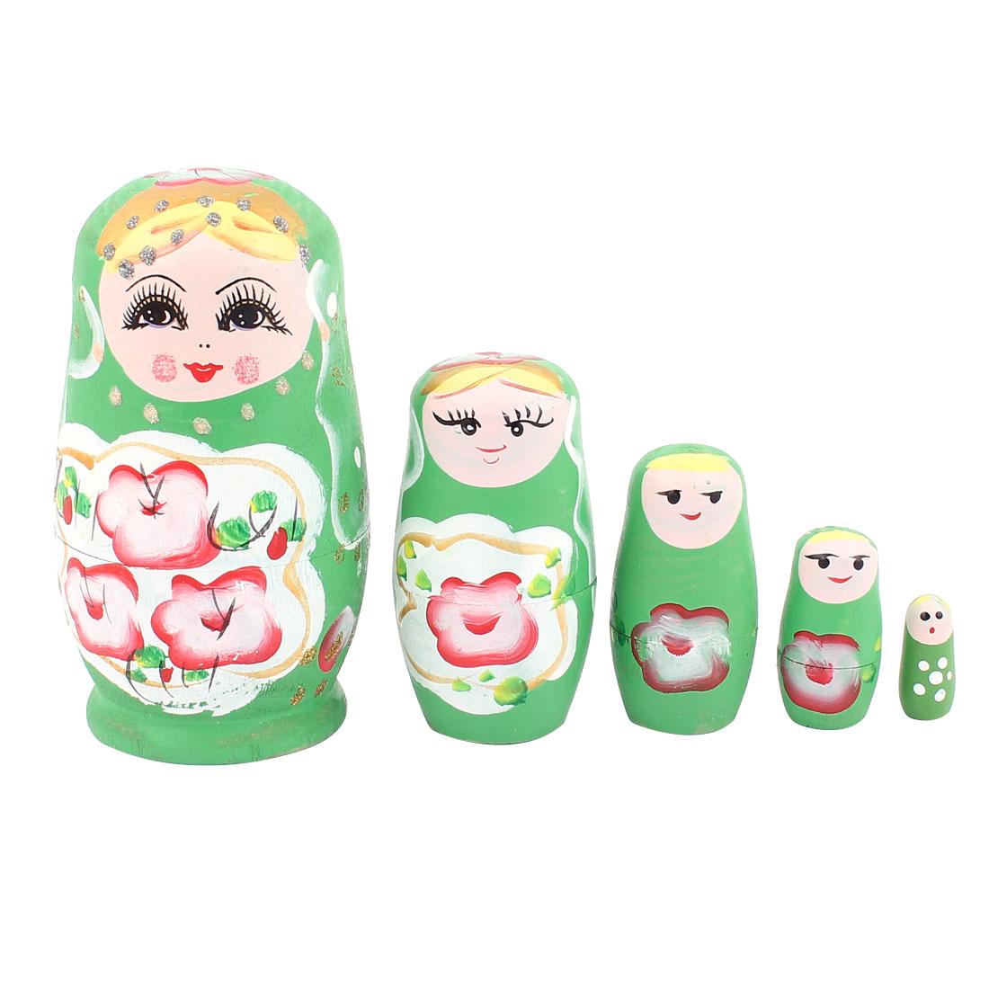 Girl Wooden Flower Pattern Russian Babushka Nesting Matryoshka Doll Green 5 in 1