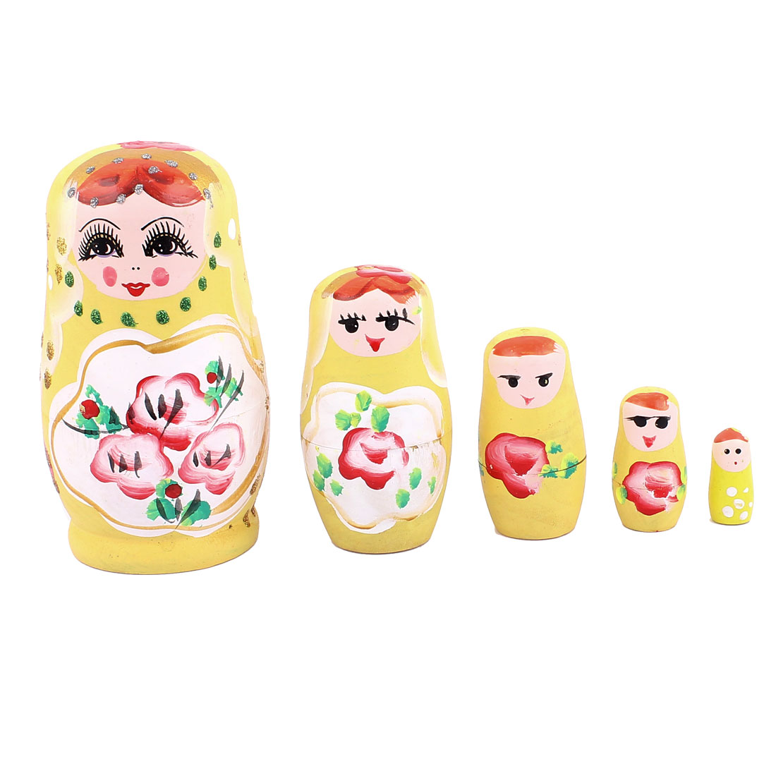 Russian Babushka Flowers Painted Nesting Matryoshka Doll Yellow 5 in 1