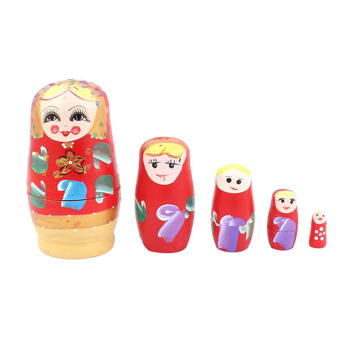 Russian Babushka Flowers Painted Nesting Matryoshka Doll Red 5 in 1
