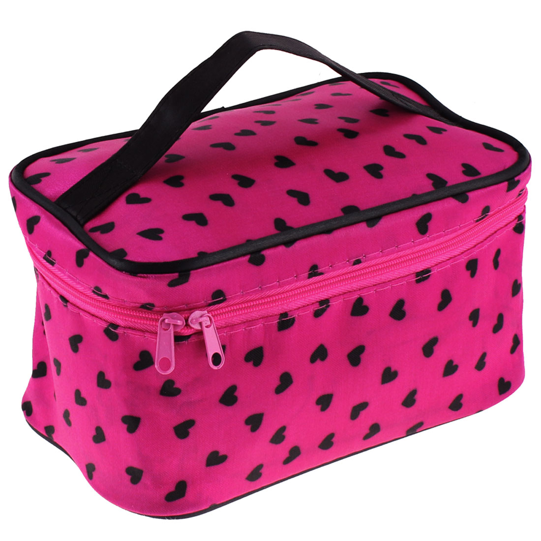 Woman Fuchsia Heart Shape Pattern Zipper Closure Traveling Toiletries Cosmetic Bag Purse Organizer Holder Tool w Mirror